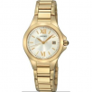 Seiko SXDC18 Womens Solar Goldtone Stainless Steel White Dial Watch