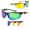 KHAN Polarized Sports Collection Color Mirror Half Frame Sports Wrap Around Sunglasses