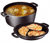 Heavy Duty Pre-Seasoned 2 In 1 Cast Iron Double Dutch Oven and Domed Skillet Lid By Bruntmor