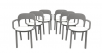 Resol Patio Dining Chairs 6-Pack in Grey or White